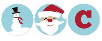 Retro Snowman and Santa