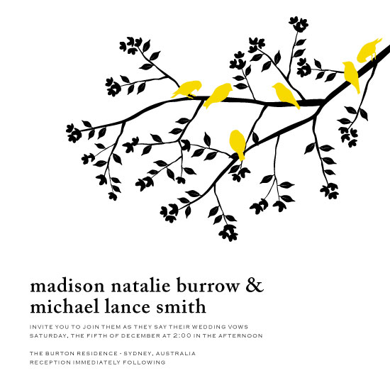 wedding invitations - Bold Yellow Birds on a Spring Branch by Jane McAdams