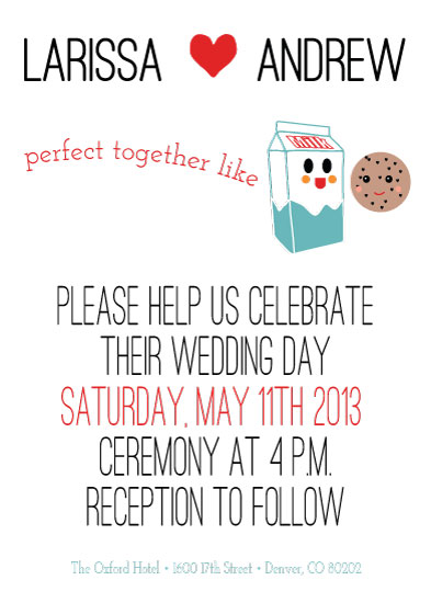 wedding invitations - Perfect Together Like Milk & Cookies by Cut the Cake Designs