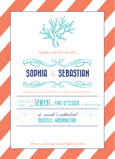 wedding invitations - Coral Dreams by Breia Mallett
