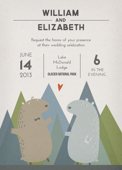 wedding invitations Bears Celebrate in the Mountains at Mintedcom