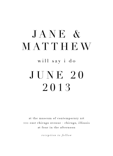 wedding invitations - Bold Typography by Pilot Papers