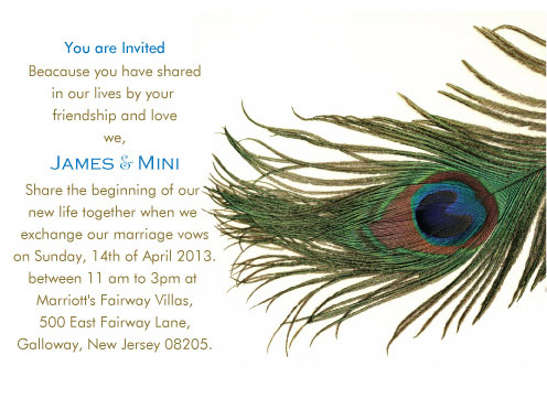 wedding invitations - Peacock Feather by Pirediba Parameswaran