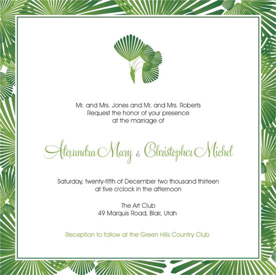 wedding invitations - Tropical Palm Tree Leaves Green by Ruxique Design