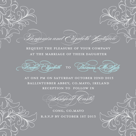 wedding invitations - Floral Edge by Feather and Ink