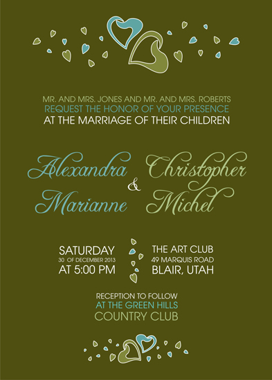 wedding invitations - Two Hearts Bold Text by Ruxique Design