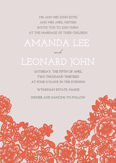 wedding invitations - Painted Florals by Katharine Watson