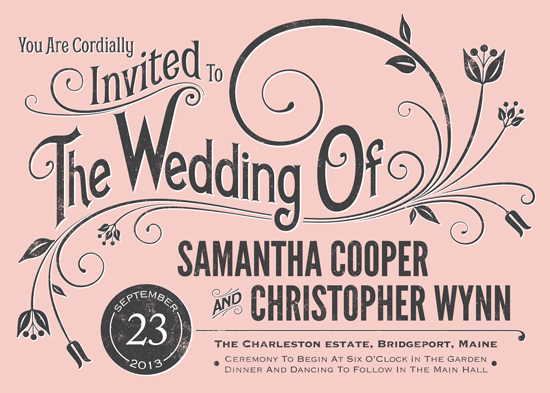 wedding invitations - Vintage Blush by GeekInk Design