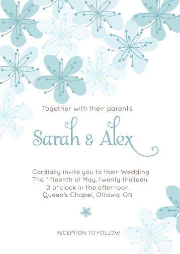 Wedding Invitations Simple Turquoise Floral Invitation
