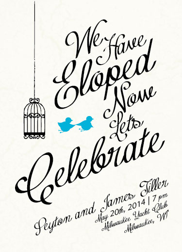 Wedding Invitations Run Away Elopement By Haley King