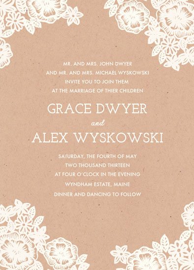 Wedding Invitations Lace And Kraft By Katharine Watson