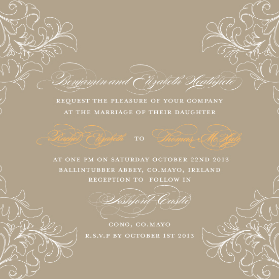 wedding invitations - Floral Edge Tan & Pumpkin by Feather and Ink