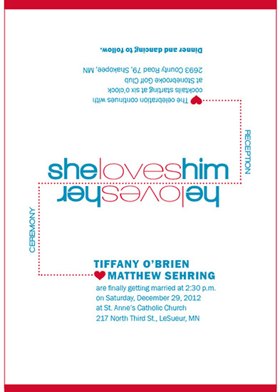 wedding invitations - She Loves Him/He Loves Her by Heather Behrens