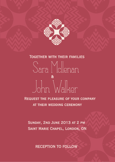 wedding invitations - Pattern inspired invitation by Artscape