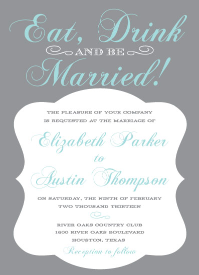 wedding invitations - Eat, Drink and be Married by Summer Smith