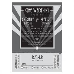 Old Hollywood Wedding Invitation & RSVP Movie Ticket