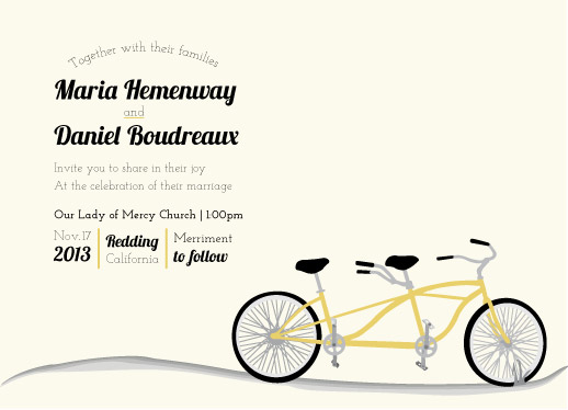 wedding invitations - bicycle built for two by Maria Boudreaux