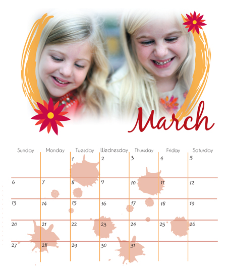 calendars - March Flowers by Aubrie Pegs