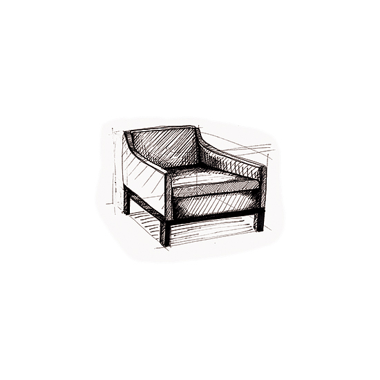 art prints - Arm Chair Sketch by Becky Nimoy