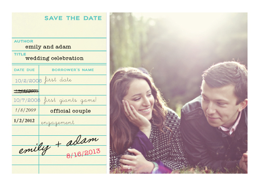 save the date cards library card by simplete design