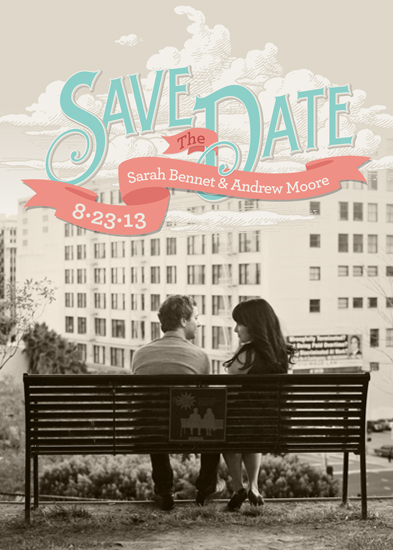 save the date cards - Up in the Clouds by GeekInk Design