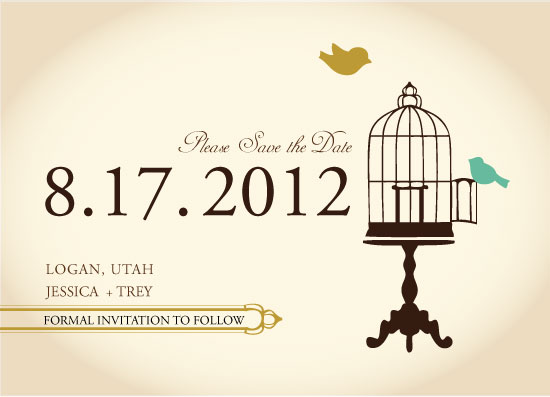 save the date cards - Sophisticated Love Birds by Jessica Morris