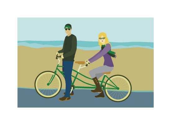 art prints - Tandem Bike By the Sea by Kelsey De Weerd