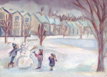 Children with snowman by Julie Marquardt