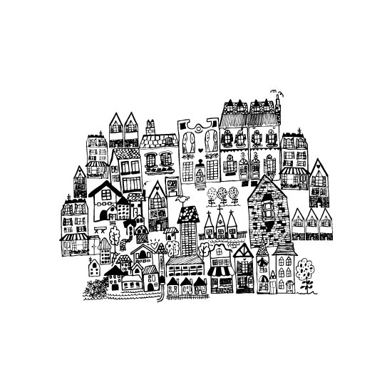 art prints - Little houses on a hillside by Phrosne Ras