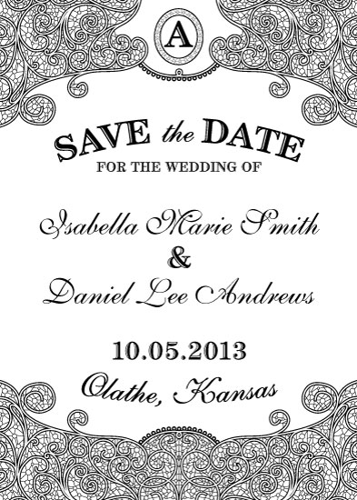 save the date cards - Lovely Lace by Sienna