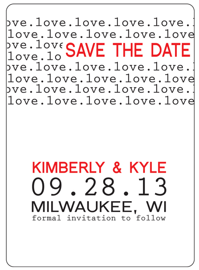 save the date cards - Type Love by Kimberly Starasinich