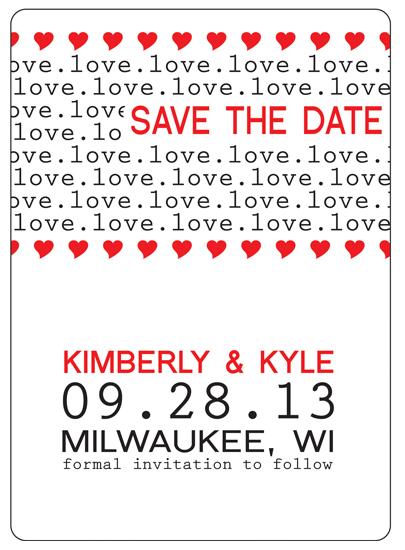 save the date cards - Bold Hearts by Kimberly Starasinich