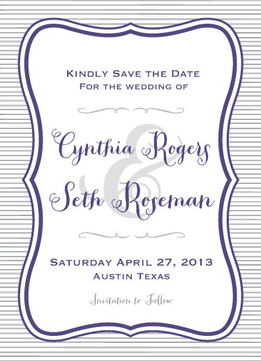 save the date cards - Rustic Violet Whimsy by Steel Petal Press