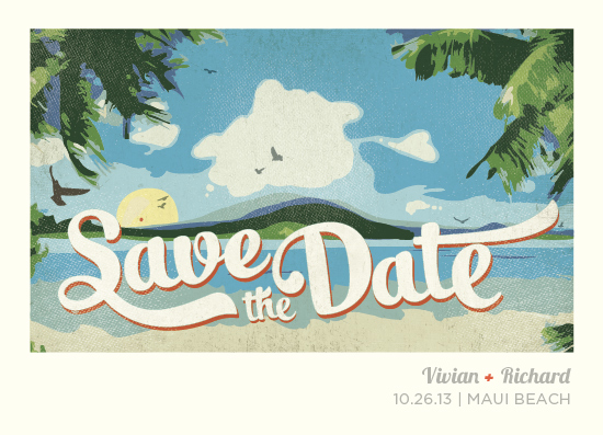 save the date cards - Vintage Tropical by Rebecca Bowen