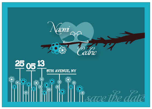 save the date cards - Blue Love by Harshada