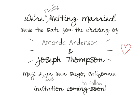 save the date cards - Handwritten Note by Devon J. Carlson