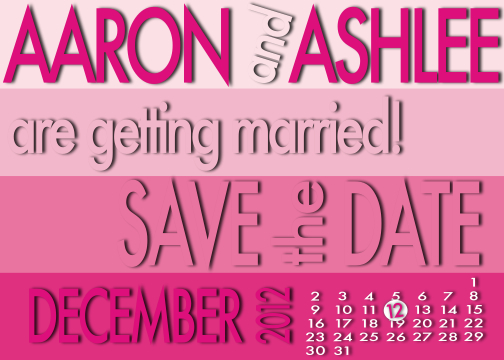 save the date cards - Pink Color Swatch by Ashlee Bordes