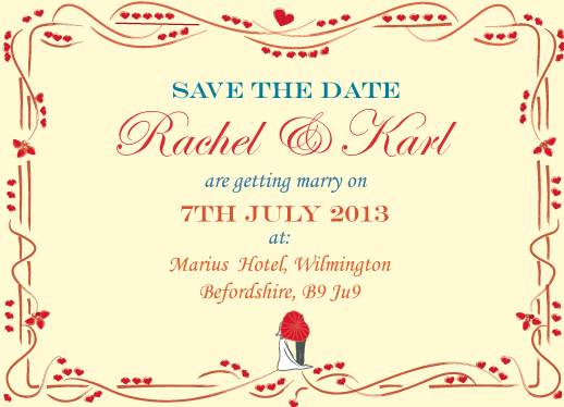 save the date cards - Red and Cream by Jade Tran