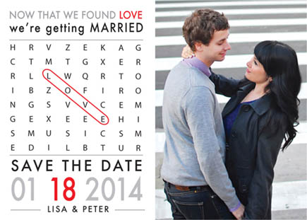 save the date cards - Scramble For Love by Peter Tanaka