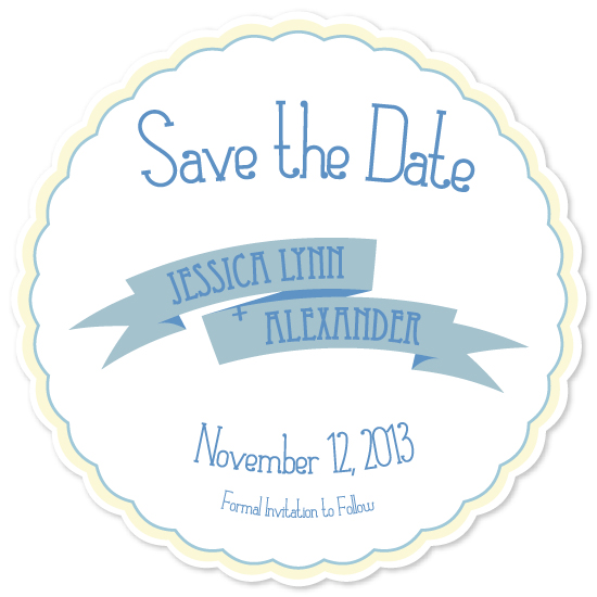 save the date cards - Simple Vintage Scalloped by Fruits Nuts Flakes
