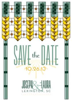 Deco Stained Glass Save the Date