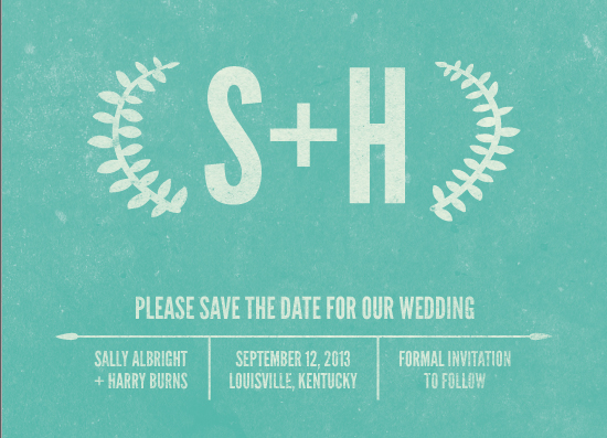 save the date cards - Vintage Laurels by A Little Big Picture