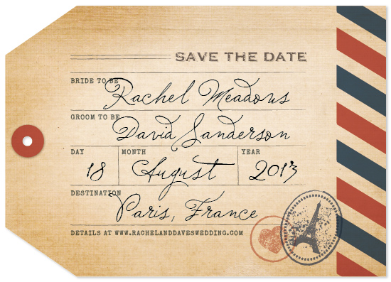 save the date cards - Pack Your Bags by Dawn Jasper