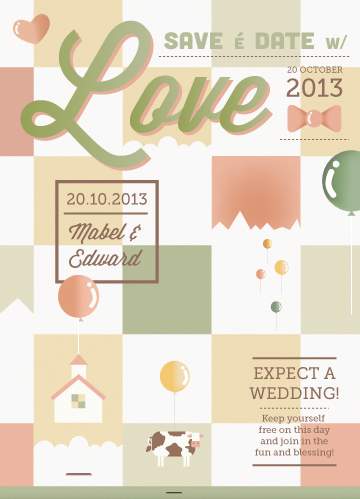 save the date cards - Floating house by Cats Blue Brew