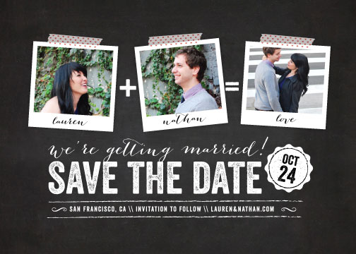 save the date cards - Polaroid on Chalkboard by Coco and Ellie Design