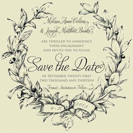 save the date cards - Laurel Wreath by Jennifer Wehe