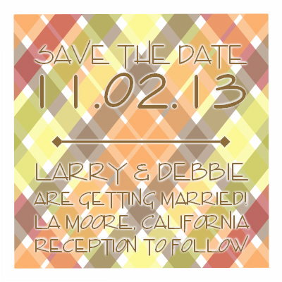 save the date cards - Crisscross Square Design by Hannah Starr