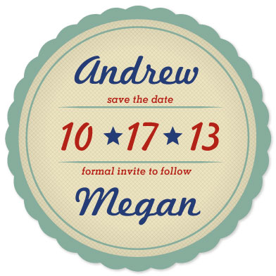 save the date cards - Vintage Label by Sara Batman