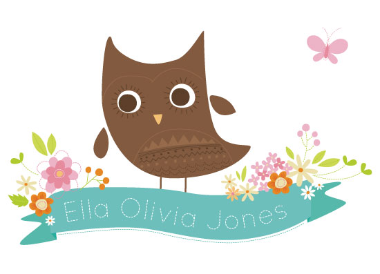 art prints - Little Owl on Floral Banner by Holly Brooke Jones