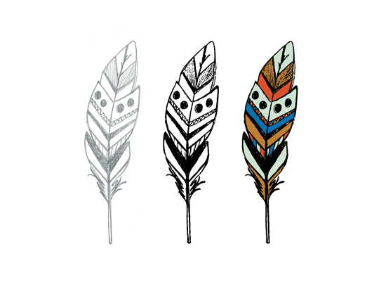 art prints - 3 more feathers by Heather Myers